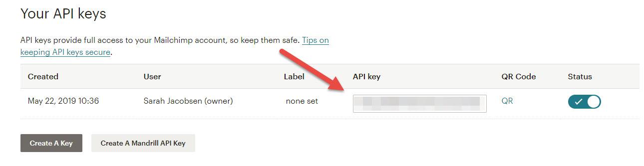 Her finder du din api-nøgle i Mailchimp